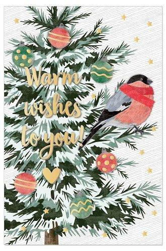 Christmas card fir with bird