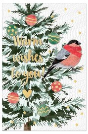 Christmas card fir with bird