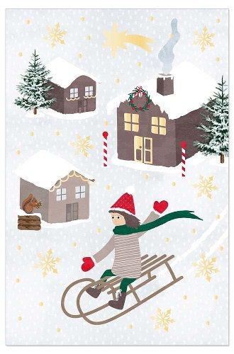 Weihnachtskarte Schlittenfahrt
