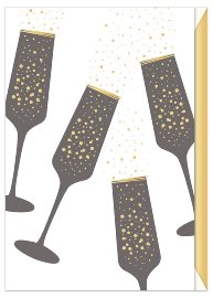 Birthday card Champagne glasses