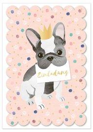 Einladungskarte 6er Set Doggy Chérie