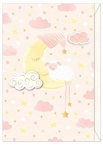 Card baby sheep moon rose
