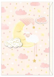 Card baby sheep moon rose