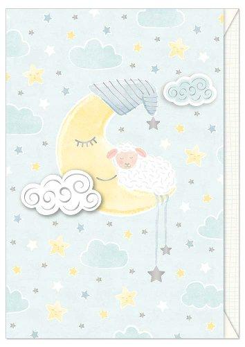 Card baby sheep moon blue