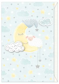 Card baby sheep moon blue