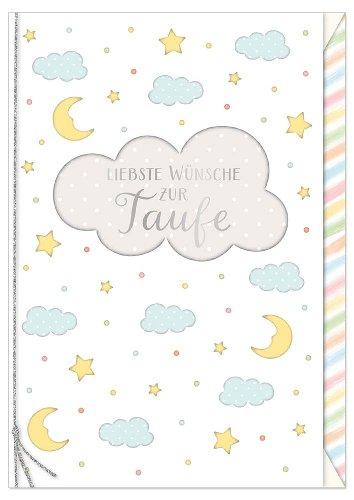 Karte Baby Taufe Mond Sterne Schleife