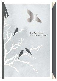 Trauerkarte Vögel Schleife 3D