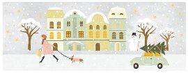 Weihnachtskarte Stadt Schnee