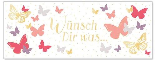 Grußkarte DIN lang Wünsch Dir was Schmetterling