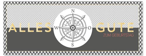 Geburtstagskarte DIN lang Kompass Grau