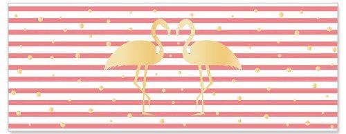 Grußkarte DIN lang Flamingo Streifen