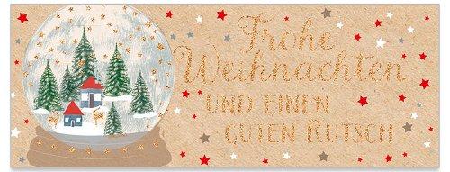 Grußkarte DIN lang Schneekugel Glitter