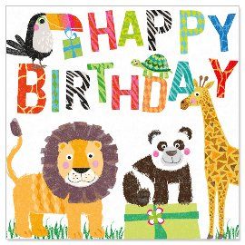 Serviette Happy Birthday Zootiere