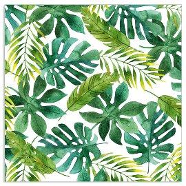 Serviette Blätter Weiß