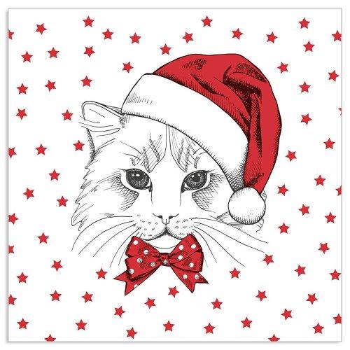 Serviette Katze Rot