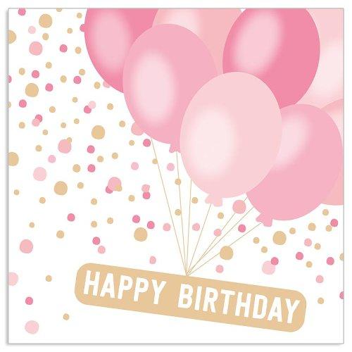 Happy Birthday Ballonserviette Rosé