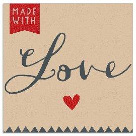 Serviette Organics Made with Love Anthrazit