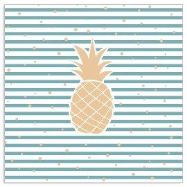 Serviette Streifen Ananas Blau