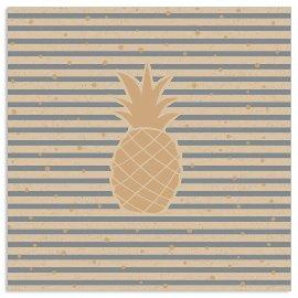 Serviette Organics Streifen Ananas Grau
