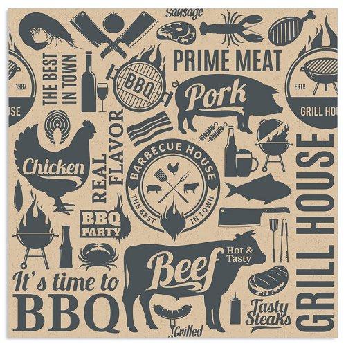 Organics Serviette BBQ Icons Anthrazit