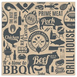 Organics Serviette BBQ Icons Anthrazit