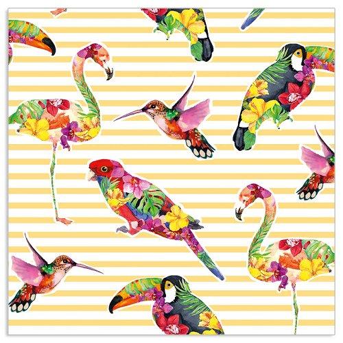 Serviette Vögel Streifen Gelb