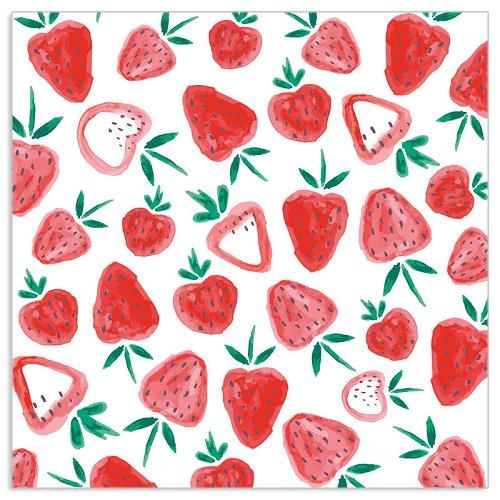 Serviette Erdbeeren Muster Weiß