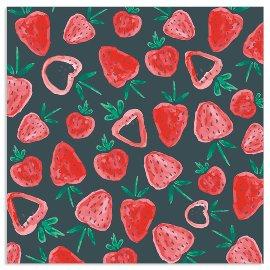 Serviette Erdbeeren Muster Anthrazit