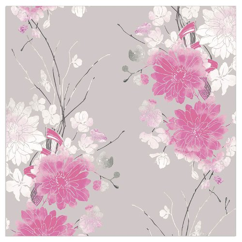 Serviette Blüten Chrysanthemen Taupe