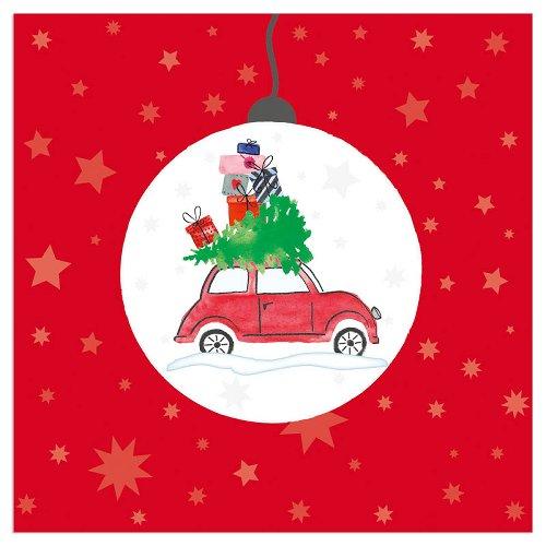 Serviette Weihnachten Auto Weihnachtskugel Rot