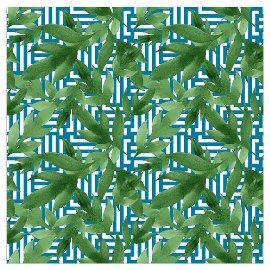 Serviette Blätter Muster Petrol