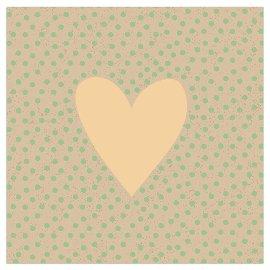 Serviette Organics Herz Punkte Gold Grün