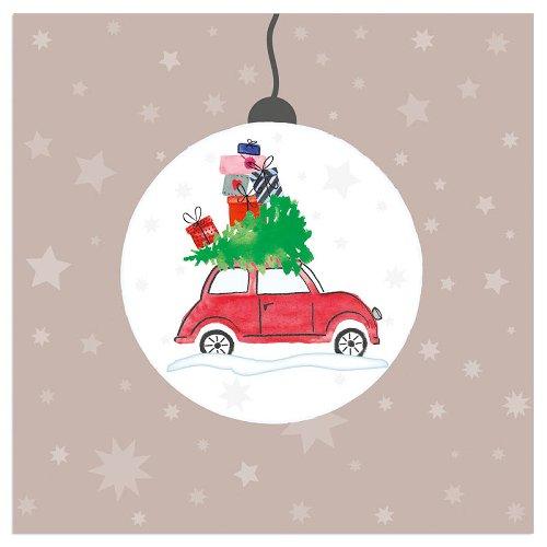 Serviette Weihnachten Auto Weihnachtskugel Taupe