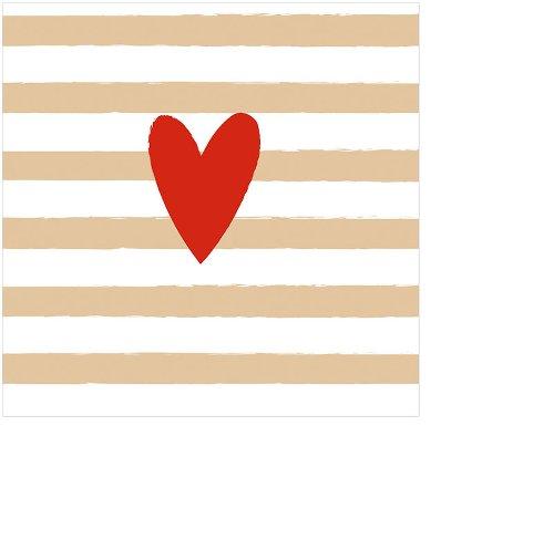Serviette Mini Herz Streifen Rot Gold