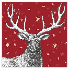 Serviette Weihnachten Hirsch Sterne Rot