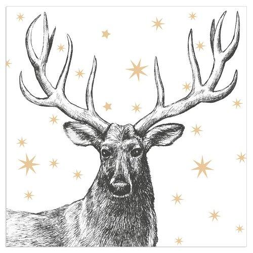 Serviette Weihnachten Hirsch Sterne Weiß