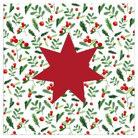 Serviette Weihnachten Stern Mistelzweige Rot