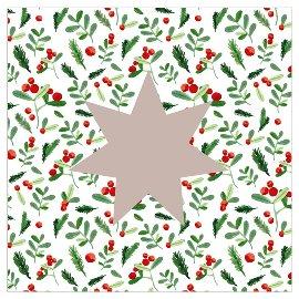 Serviette Weihnachten Stern Mistelzweige Taupe