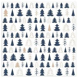 Serviette Weihnachten Tannenbäume Dunkelblau