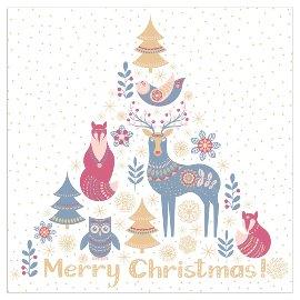 Serviette Weihnachten Tiere Spruch Merry Christmas Blau