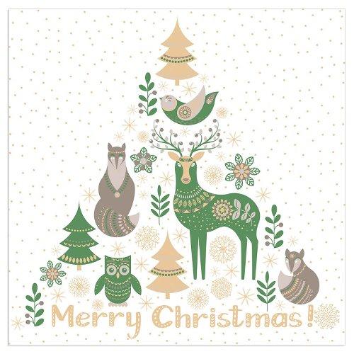 Serviette Weihnachten Tiere Spruch Merry Christmas Grün