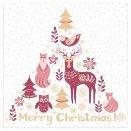 Serviette Weihnachten Tiere Spruch Merry Christmas Rosé