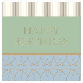 Serviette Happy Birthday Gold Lindgrün