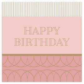 Serviette Happy Birthday Gold Nude