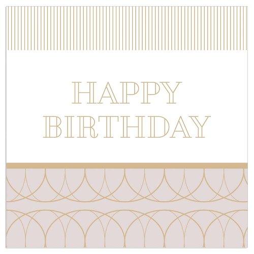 Serviette Happy Birthday Gold Weiß