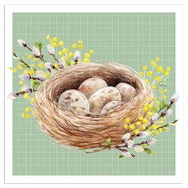 Napkin easter nest green