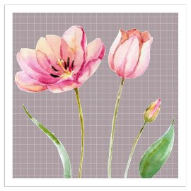 Napkin tulips warm grey