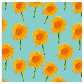 Napkin sunflowers aqua
