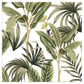 Napkin palm leaves white