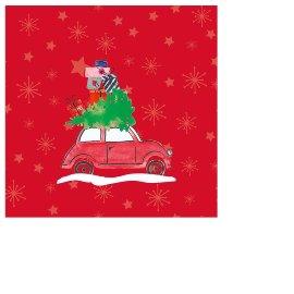 Serviette Mini Weihnachten Auto Rot